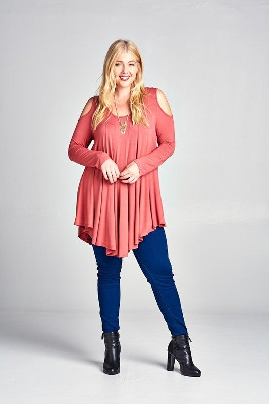Solid Open Shoulder Tunic
