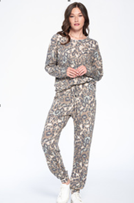 French Terry Mint Animal Print Knit Top & Pants Loungewear Set