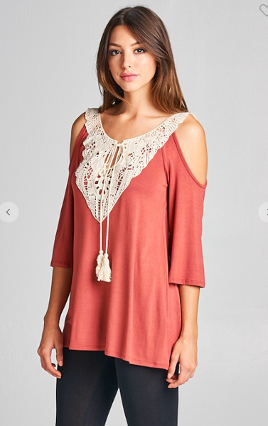 Open Shoulder Lace Patch Tunic with Tassel
