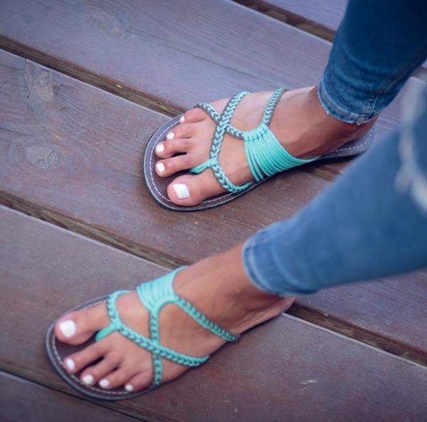 Oceanside Plaka Flip Flops Sandals - Turquoise