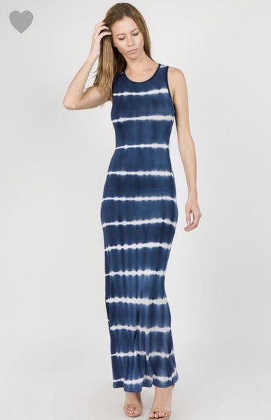 Navy Tie Dye Summer Nights Dress