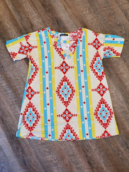 Aztec Keyhole Yellow Print Top