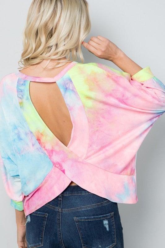 Open Back Tie Dye Print Top