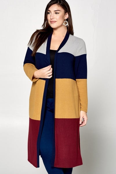 Long Color-Block Duster Open Front Cardigan