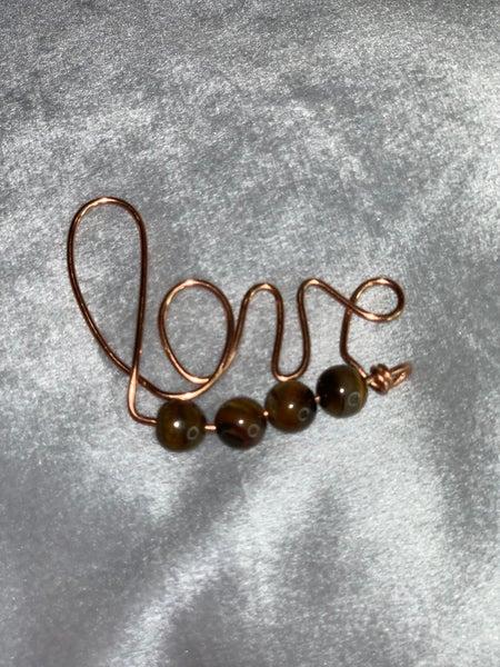 Love Key Chain - Handmade by Audie Tiger Eye