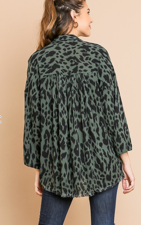 Animal Print Long Sleeve V-Neck Collared Tunic with High Low Frayed Hem