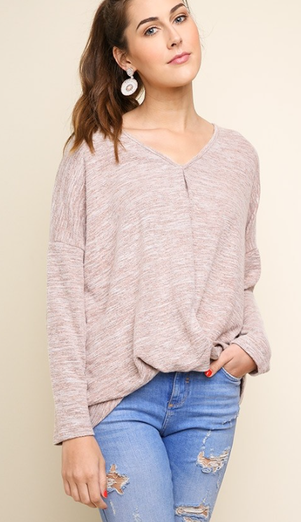 Long Sleeve V-Neck Heathered Knit Top with a Gathered Waist