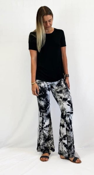 Bell Bottom Black Tie Dye Pant