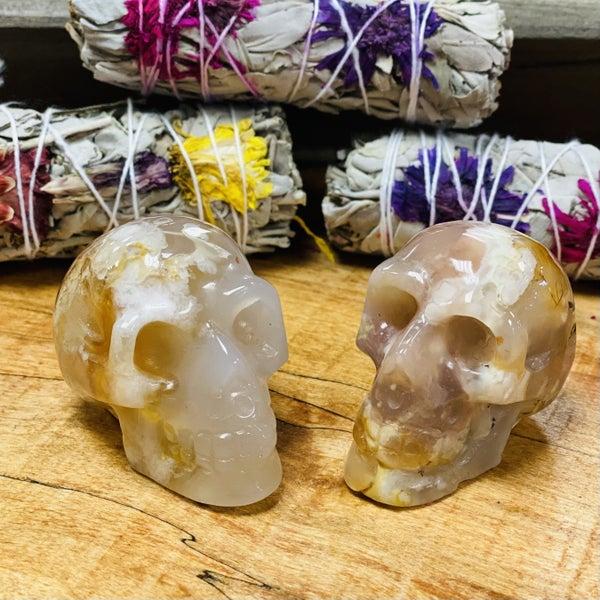 Flower Agate Skulls - Small