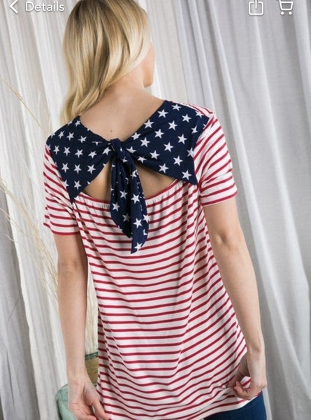American Dreams Bow Back Top