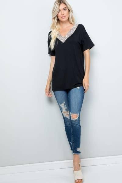 Black V-neck Animal Print Shirt