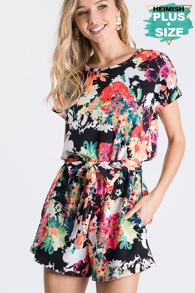 PLUS FLORAL BELTED ROMPER WITH KEY HOLE