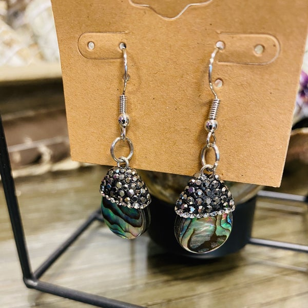 Abalone Black Rhinestone Earrings