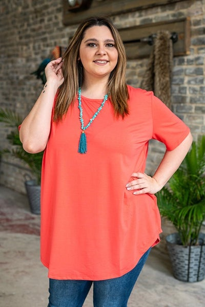 Spring Coral Basic Neck Tee