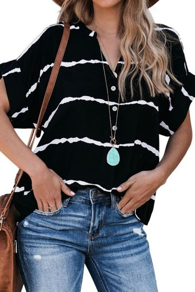 Black Striped Folded Short Sleeve