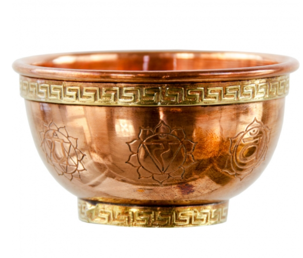 Copper Bowl Incense Charcoal Burner - Seven Chakra