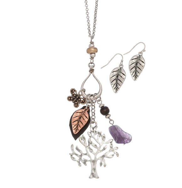 Tree Of Life Teardrop Charm Necklace