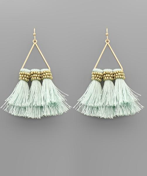 3 Tassel Triangle Earrings