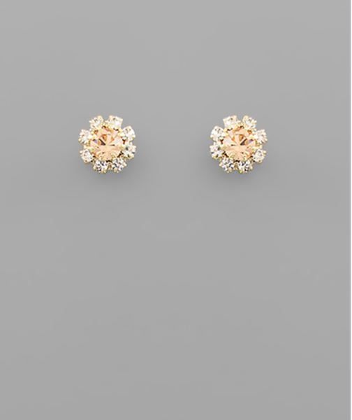 PEACH AND GOLD STUD EARRINGS