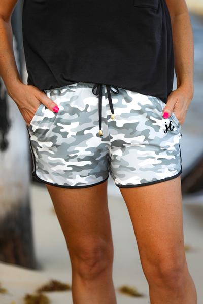 Commander Grey Camo Drawstring Everyday Shorts **PREORDER**