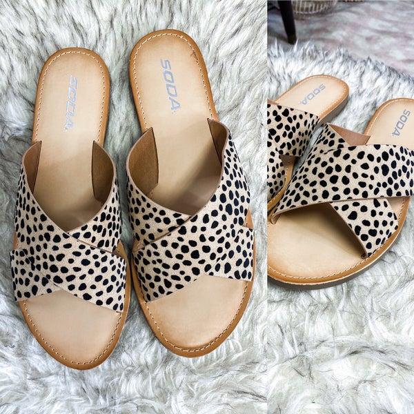 Cheetah Fawn Cross Sandals