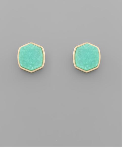 Mint Hexagon Druzy Earrings
