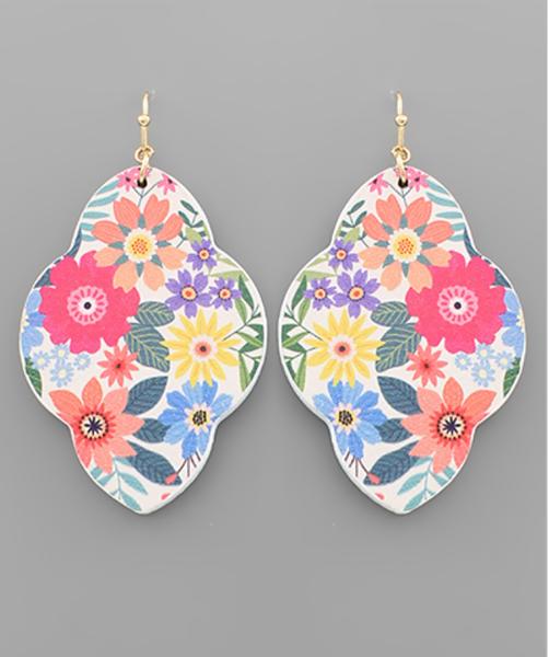 Arabesque Flower Print Wood Earrings