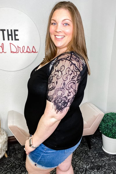Black Lace Sleeve Curvy Top
