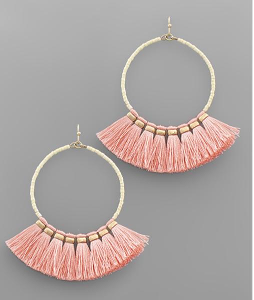 Bead Circle & Tassel Earrings
