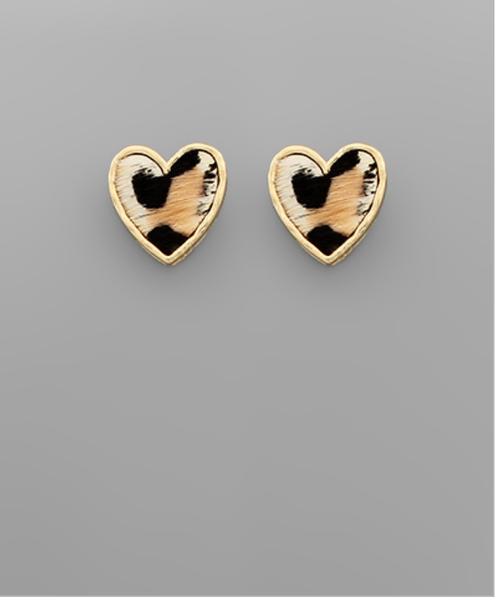 Leo and Ivory Heart Stud Earrings