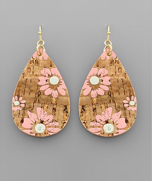Daisy Cork TearDrop Earrings