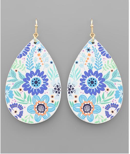 Teardrop Flower Print Wood Earrings