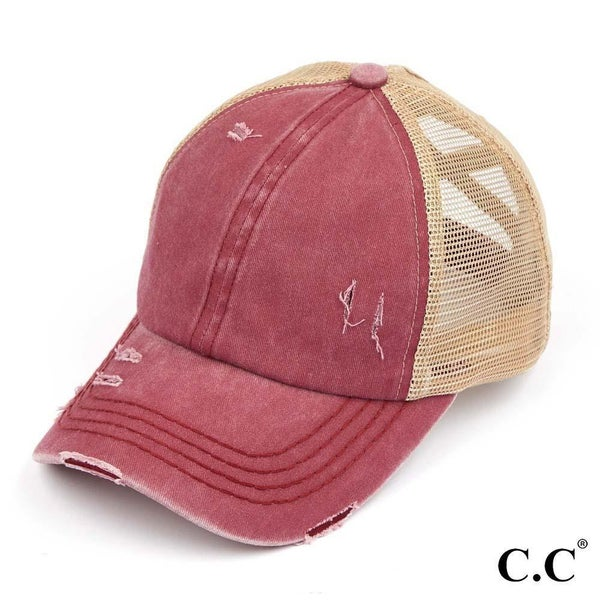 C.C. Distressed Criss Cross Pony Cap with Mesh Back