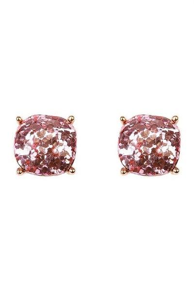 Pink Glitter Girl Earrings *Final Sale*
