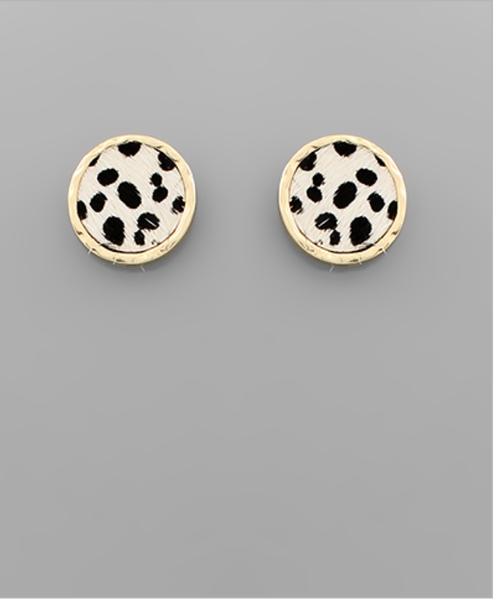 Cheetah and Ivory Stud Earrings