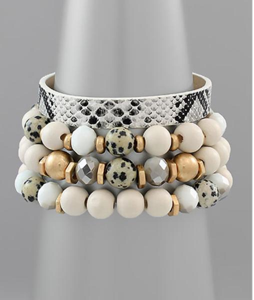 Wood, Stone & SnakeSkin Bracelet *Final Sale*