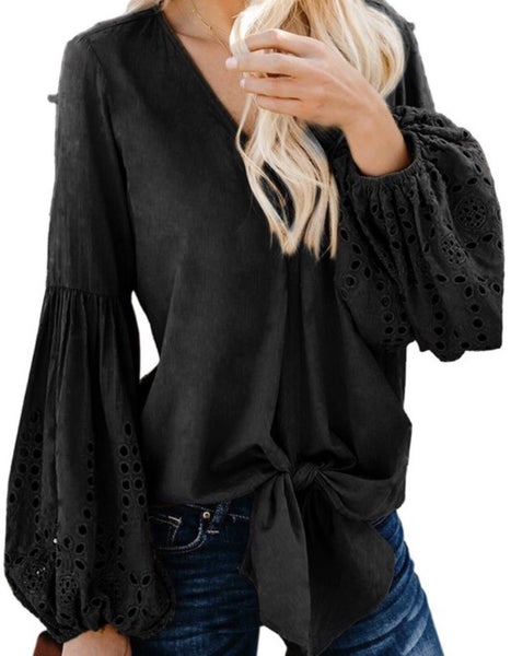 The Eyelet Sleeve Top Black