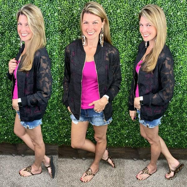Summer Nights Sheer Bomber Jacket