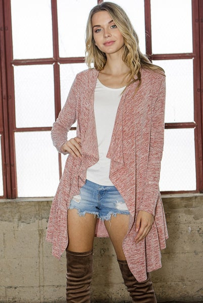 Feminine Heathered Open Front Cardigan