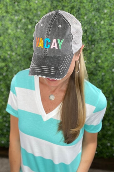 VACAY Colorful Embroidered Trucker Hat with mesh back and velcro closing