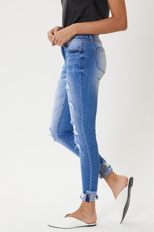 Mid Rise Distressed Ankle Skinny Jeans