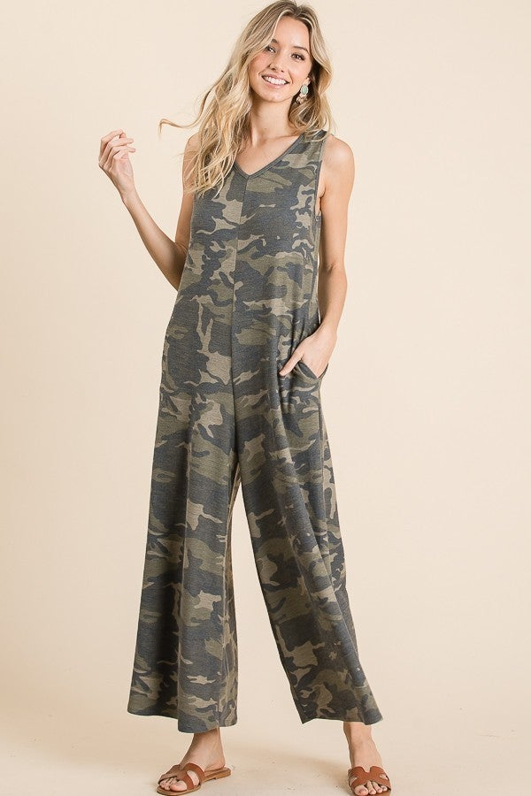 French Terry Soft Camo Jumpsuit