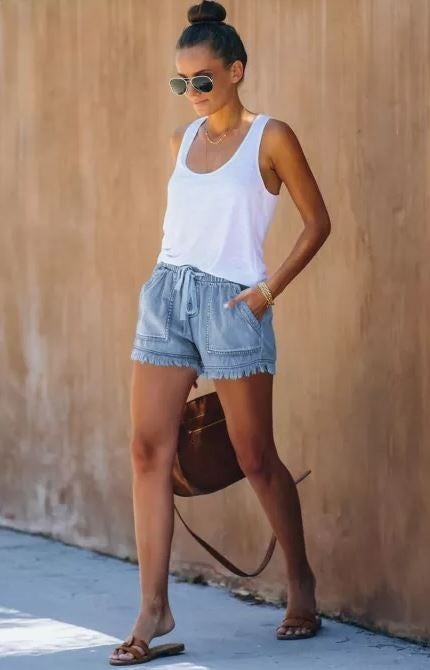 Sweet Comforts Elasticized Denim Shorts