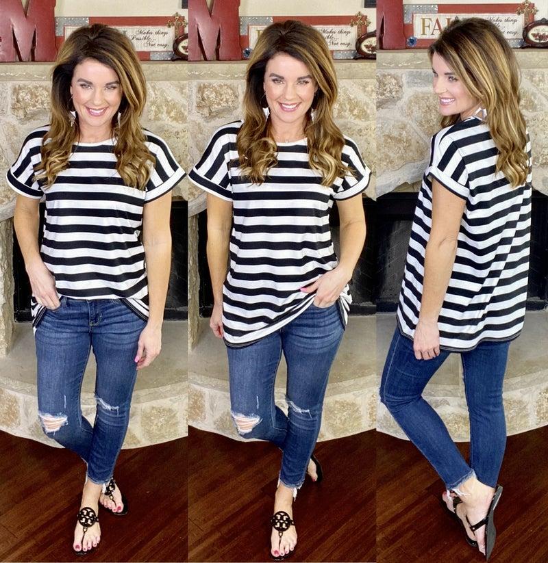 Millie Stripe Top- Short Sleeve!