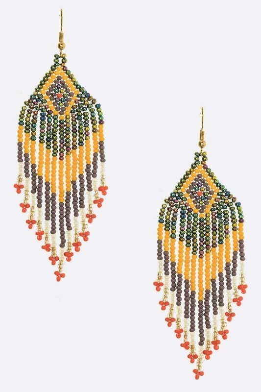 Beaded  Boho Fringe Earrings - LMTD STOCK!!