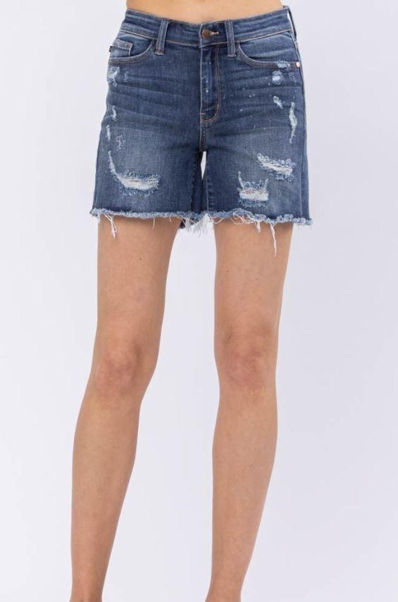 Judy Blue Splashed Destroyed Denim Shorts