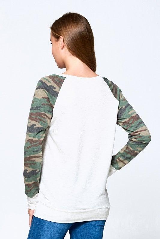 Transitioning in Comfy Camo Raglan Pullover
