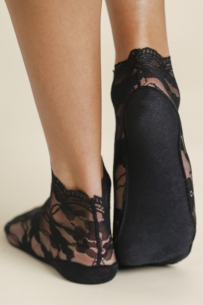 Lace Trim Net Ankle Socks