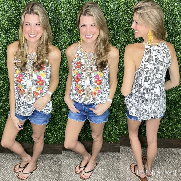 Daphne Embroidered Halter Tank