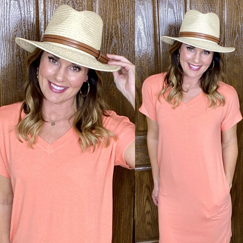Karey Panama Hat with Faux Leather Band Accent